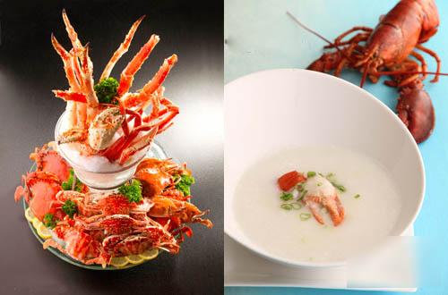 鲜蟹拼盘及龙虾鲜蟹粥