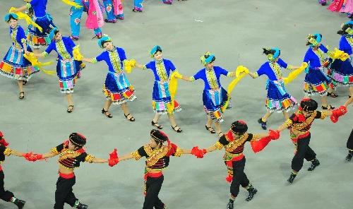 少数民族传统运动会开幕 民族歌舞表演
