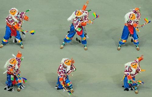 少数民族传统运动会开幕 西藏代表团