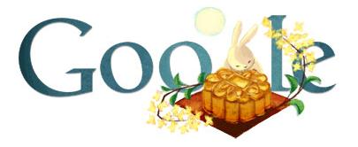 中秋的Doodle很素雅,一只玉兔在偷食着月饼。Google字体用淡蓝衬底,映出深邃的天空。简单、精致。