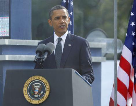 9月11日,奥巴马在纽约世贸中心遗址诵读《圣经》中的诗篇。