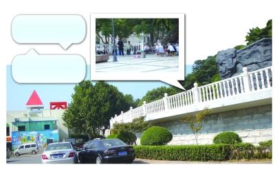 红圈处为凤凰幼儿园,白色栏杆上面就是老年乐队每天唱歌的小广场。 乔金玲 摄