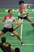 图文:柳延星/张艺娜获混双亚军 在比赛中