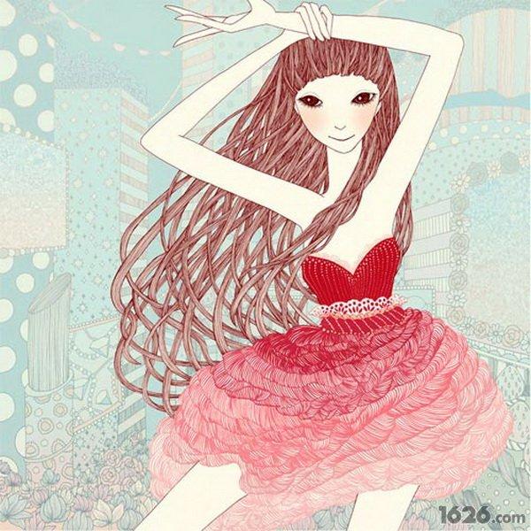 粉色系动漫女头手绘