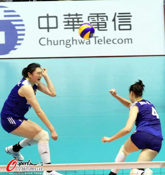 图文:中国女排获亚锦赛冠军 王一梅表情销魂