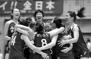 中国队球员庆祝夺冠 新华社记者 任正来 摄