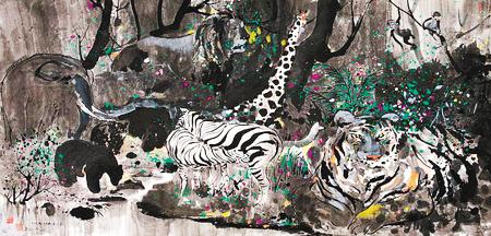 《印尼野生动物园》 吴冠中 作