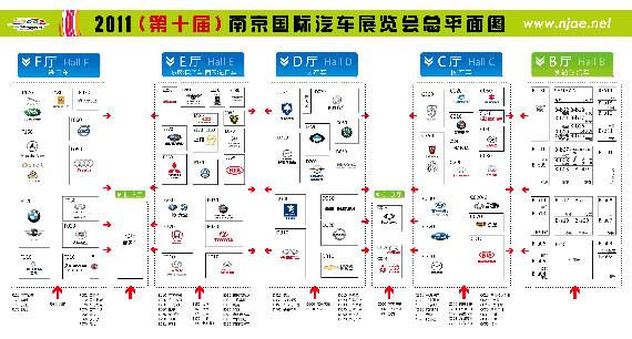 2011(第十届)南京国际车展平面图(点击查看大图)