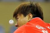 图文:乒乓球亚洲杯郭跃晋级四强 郭焱发球瞬间