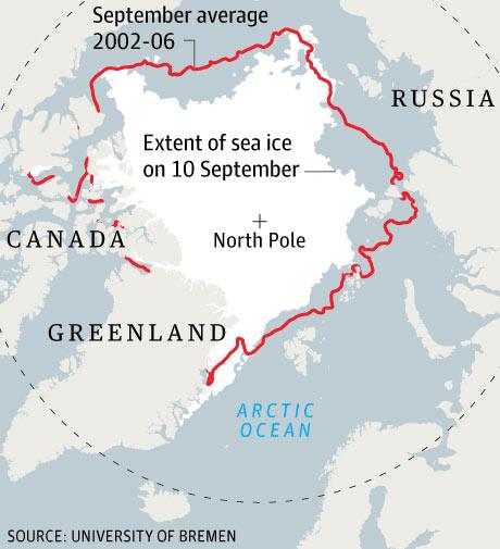 北极海冰覆盖面积变化地图