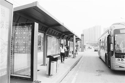 图为:修葺一新的公交站台,成为江城路边风景线。
