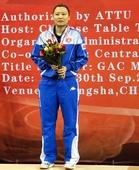 图文:乒乓球亚洲杯颁奖仪式 姜华珺获得银牌