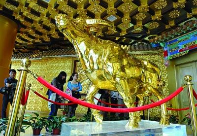 华西村龙希国际大酒店60层的镇楼之宝黄金牛。新华社