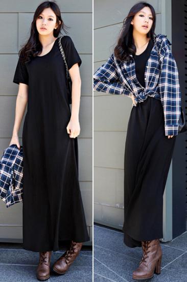 黑短袖搭配黑色裤子