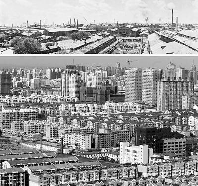 上图:20世纪50年代沈阳市铁西区工人新村一角;下图:沈阳铁西新区鸟瞰