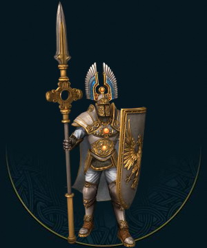 强力的哨卫是神圣帝国的第一道防线。他们是证明了自己对皇帝的忠诚以及对艾尔拉思的信仰的志愿兵。他们发誓用他们的重盾,甚至自己的生命保护自己的战友。他们完全靠信仰来保护自己。
