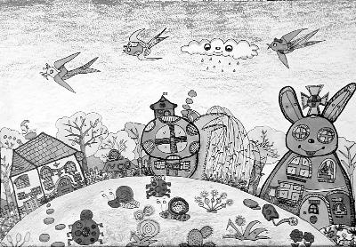 畅想中国梦的黑白画