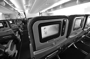 广州白云机场/10月17日拍摄的南航A380机舱内部。