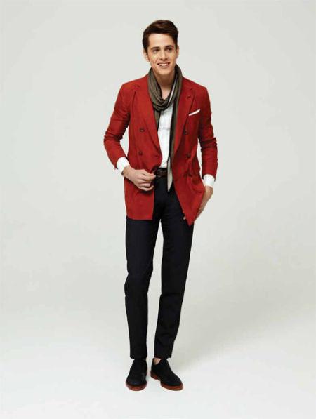 Z Zegna 橙色双排扣西装外套:Boy版