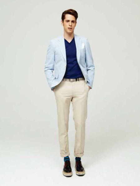 减龄蓝色条纹西装:Boy版