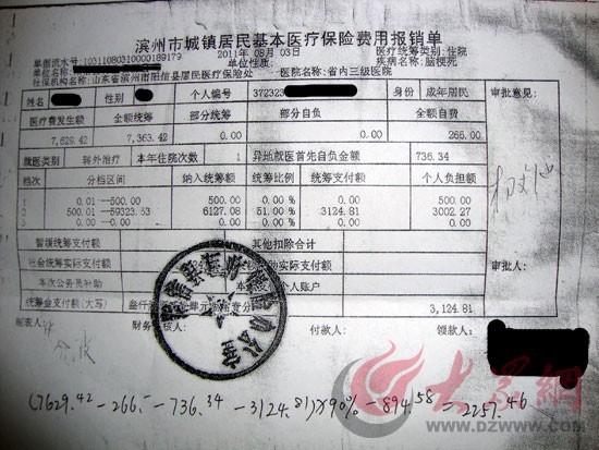 医疗保险费用报销单,最下方是中国人寿阳信分公司理赔人员所列理赔