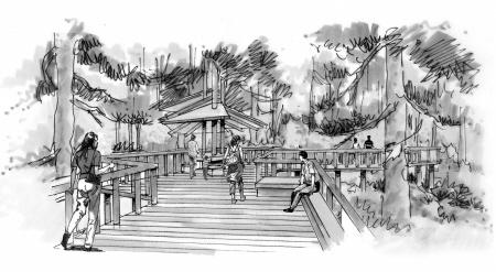 古建筑景区手绘图