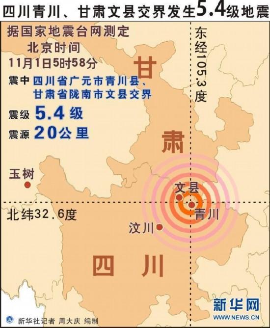 四川青川,甘肃文县交界发生5.4级地震(图)