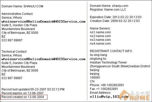 图:域名信息