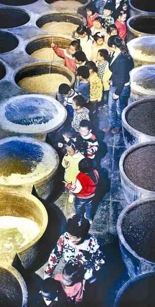 10月19日上午,一批幼儿园的孩子在老师的带领下来到恒顺集团手工制醋图片