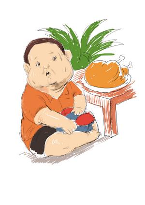 幼儿吃早餐卡通图