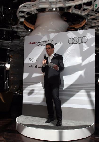 奥迪体育营销市场、奥迪品牌合作主管Florian Zitzlsperger在见面会上致辞