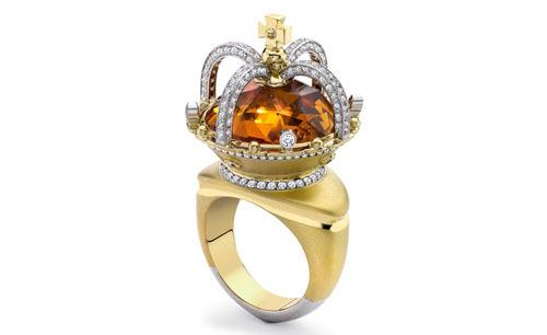 镶茶晶钻石皇冠戒指