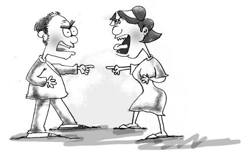 手绘图情侣吵架