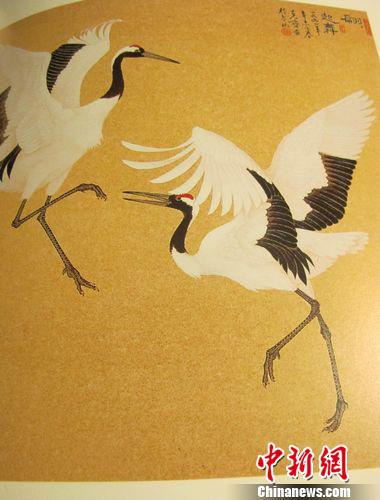 """台湾工笔画家绘就""""会跳舞的丹顶鹤""""(组图)"""