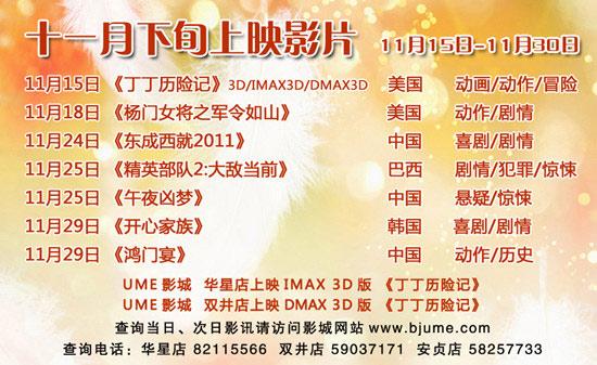 2011年11月下旬网站排片