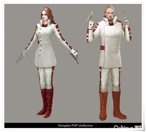 圣殿骑士白底红纹的制服