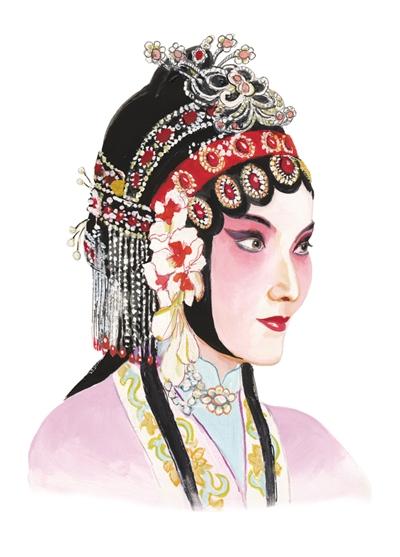虞姬花旦手绘插画