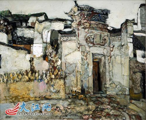 油画作品《老房子》