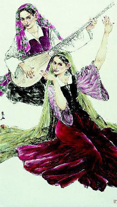 叶华参展作品《新疆舞蹈》