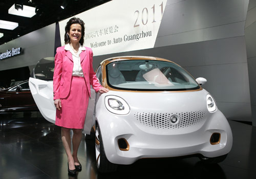 smart品牌全球总负责人Annette Winkler博士和  概念车smart forvision