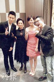 柯震东、陈妍希(左一及左三)、九把刀争着与叶德娴合照