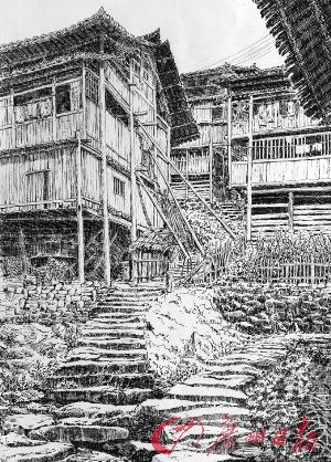 湘西吊脚楼(钢笔画) 孙景良 画