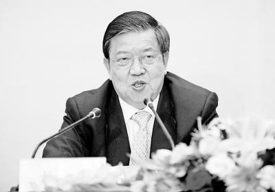 龙永图在大会上发言 记者苗剑