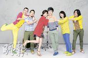 Ella与苏打绿为合唱歌拍摄MV,Ella(左三)更不时与青峰(右三)斗嘴。