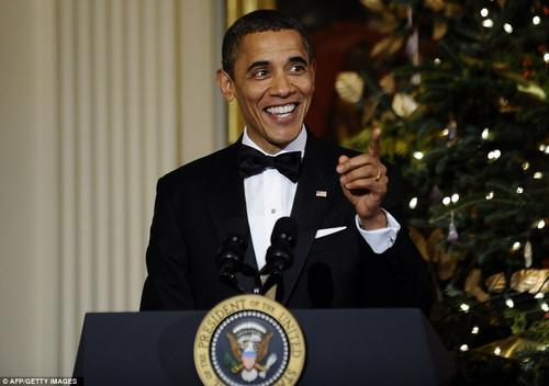 奥巴马的演讲几度引起哄堂大笑图片