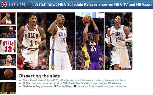 (NBA官网公布新赛季赛程截图)