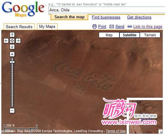 谷歌地图里的可口可乐标志