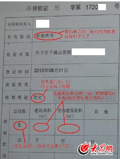 """建筑面积公摊面积_这张房产证令人震惊:建筑公摊面积均为""""0""""(组图)-搜狐滚动"""