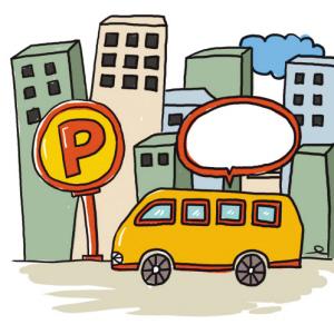 卡通手绘公交站牌图片