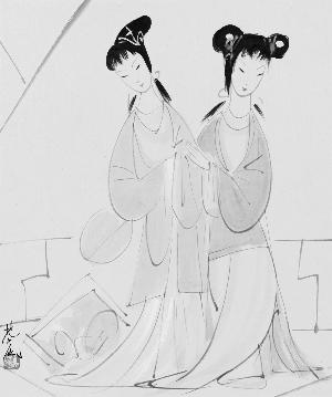 古代小姑娘手绘图